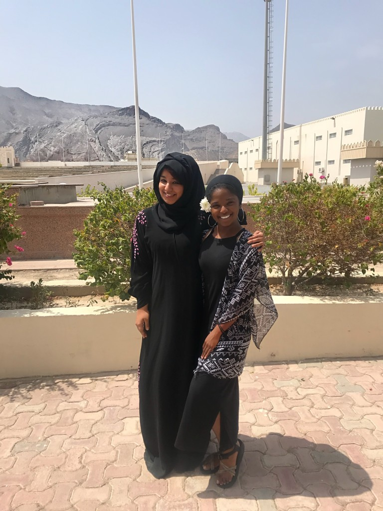 Kimberly Ratliff, a JSU senior, poses with one of her instructors during her summer in the Middle East. (Photo special to JSU.)