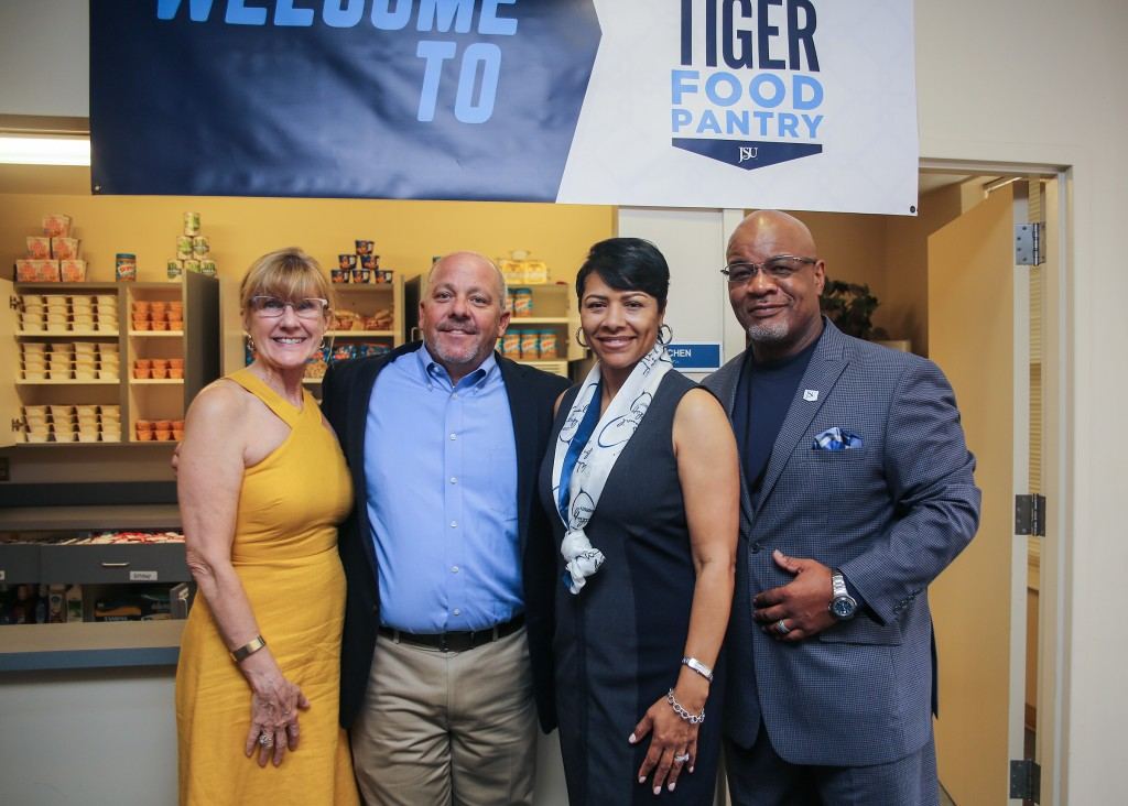 Partnerships and collaborations were pivotal in helping to make the Tiger Food Pantry a reality. Pictured with Dr. William B. Bynum Jr., JSU president, and Deborah Bynum, first lady of JSU, is Sandra Shelson, far left, executive director for The Partnership for a Healthy Mississippi, and Langston Moore, left, communications and community engagement director. (Photo by Aron Smith/University Communications)