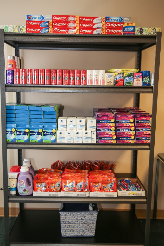 The Tiger Food Pantry offers students free toiletries and food as part of Deborah Bynum's, first lady of JSU, initiative to end campus hunger and make the matriculation experience more comfortable for students in need. (Photo by Aron Smith/University Communications)