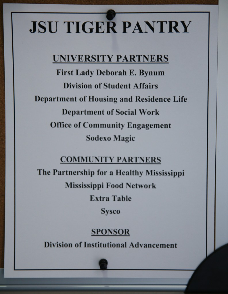 Inside the JSU Tiger Food Pantry is a list of university and community partners who helped to make the pantry a reality. (Photo by Aron Smith/University Communications)