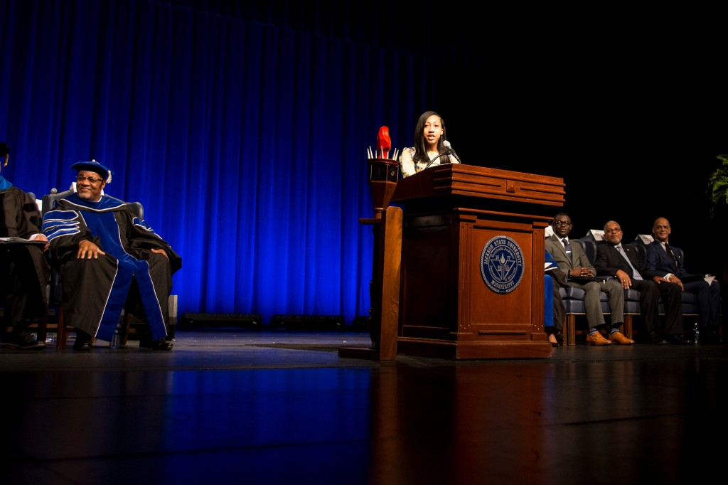 Chelsea Bynum-Grant, oldest daughter of Dr. William and Deborah Bynum, presented endearing and loving remarks on behalf of the family at her father's investiture service. (Photo by Aron Smith/JSU)