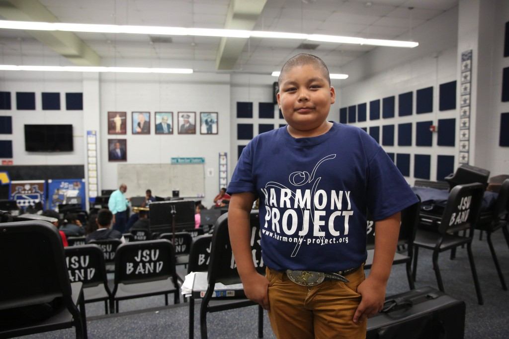 "Edward Rios is the youngest of the group of 20 Harmony Project students. Rios calls the university ""pretty fun"" and says he has enjoyed learning different features of his trumpet. (Photo by: Kentrice S. Rush/JSU University Communications)"