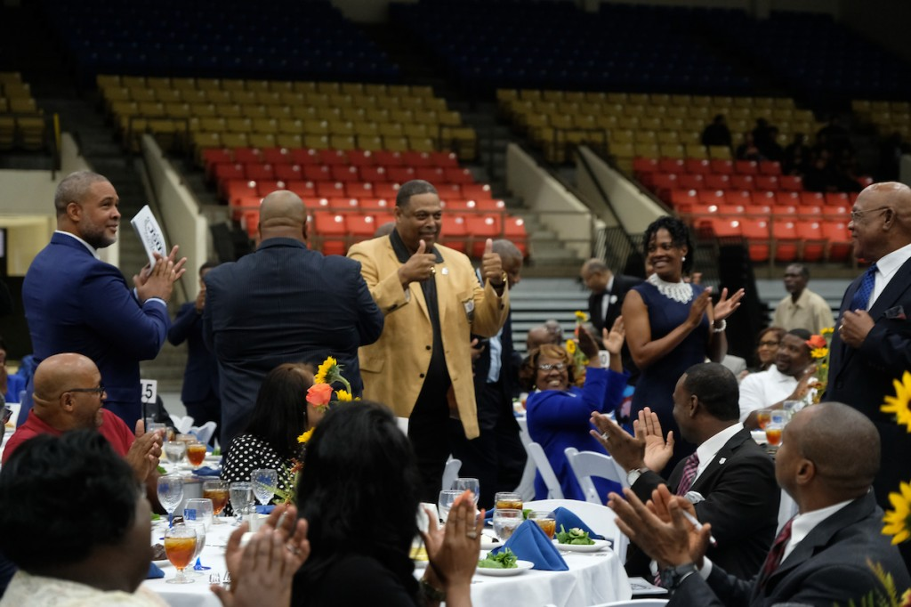 NFL Hall of Famer Robert Brazile acknowledges the crowd during the 2018 Sports Hall of Fame in the Lee E. Williams Athletics and Assembly Center. (Photo by Charles A. Smith)