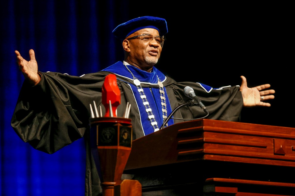 Dr. William B. Bynum Jr. shared his journey to becoming the 11th president of Jackson State University with members of the audience at his investiture service last week. (Photo by Charles A. Smith/JSU)