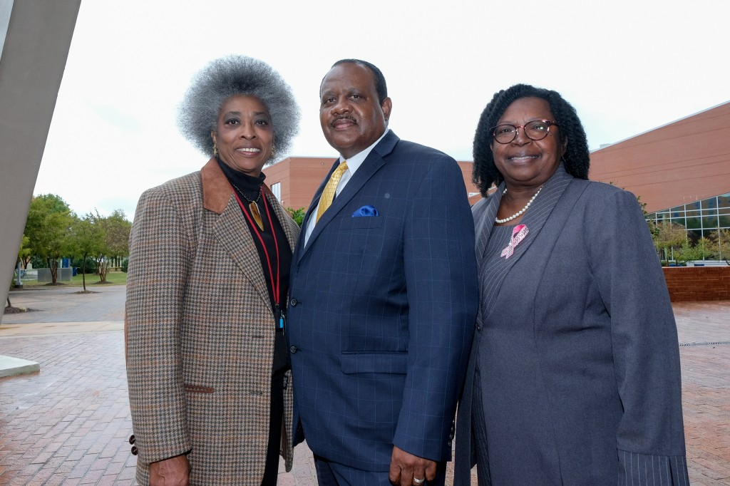 Dr. Glenda Windfield, director for the Deep South Synergy Teachers of Visually Impaired Project (left); Dr. Daniel Watkins, dean of the College of Education and Human Development, (center); and Dr. Locord Wilson, assistant dean of the College of Education and Human Development.