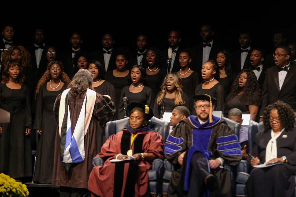 "The chorale presents a moving rendition of ""All Creatures of Our Good and King"" under the guidance of Dr. Loretta Galbreath, director of Choral Activities. (Photo by Charles A. Smith/JSU)"
