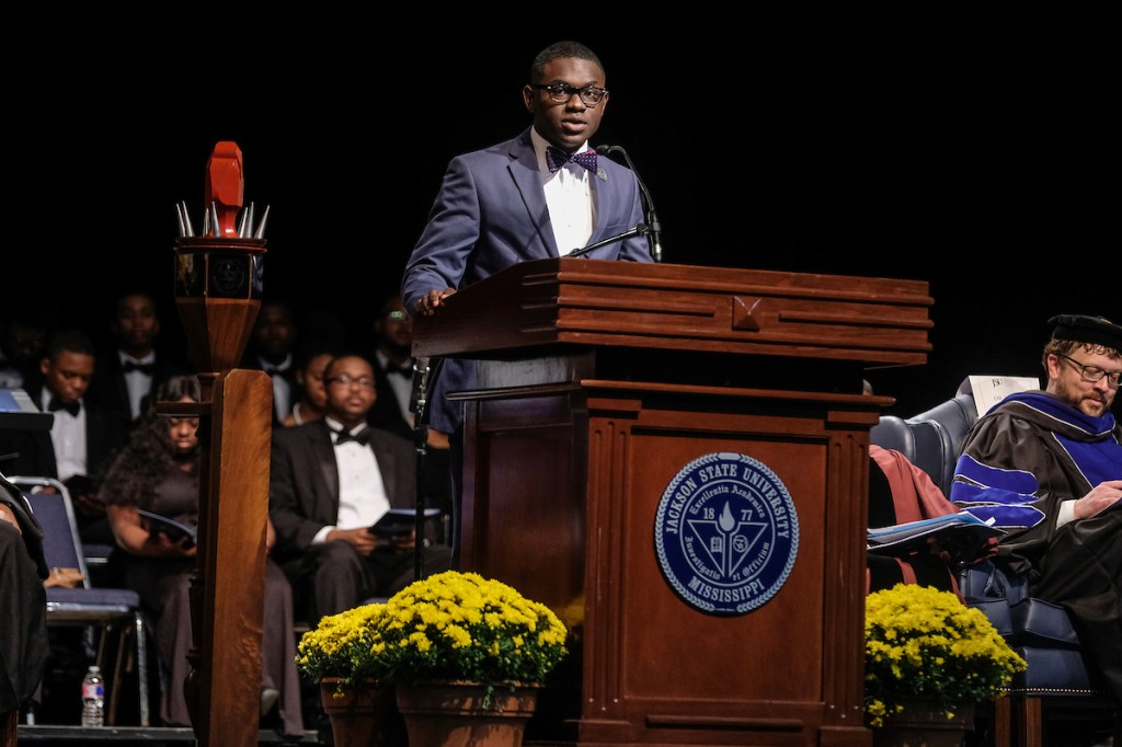 La'Curtis Powell, the 2018-2019 president of the Student Government Association, delivers greetings. (Photo by Charles A. Smith/JSU)