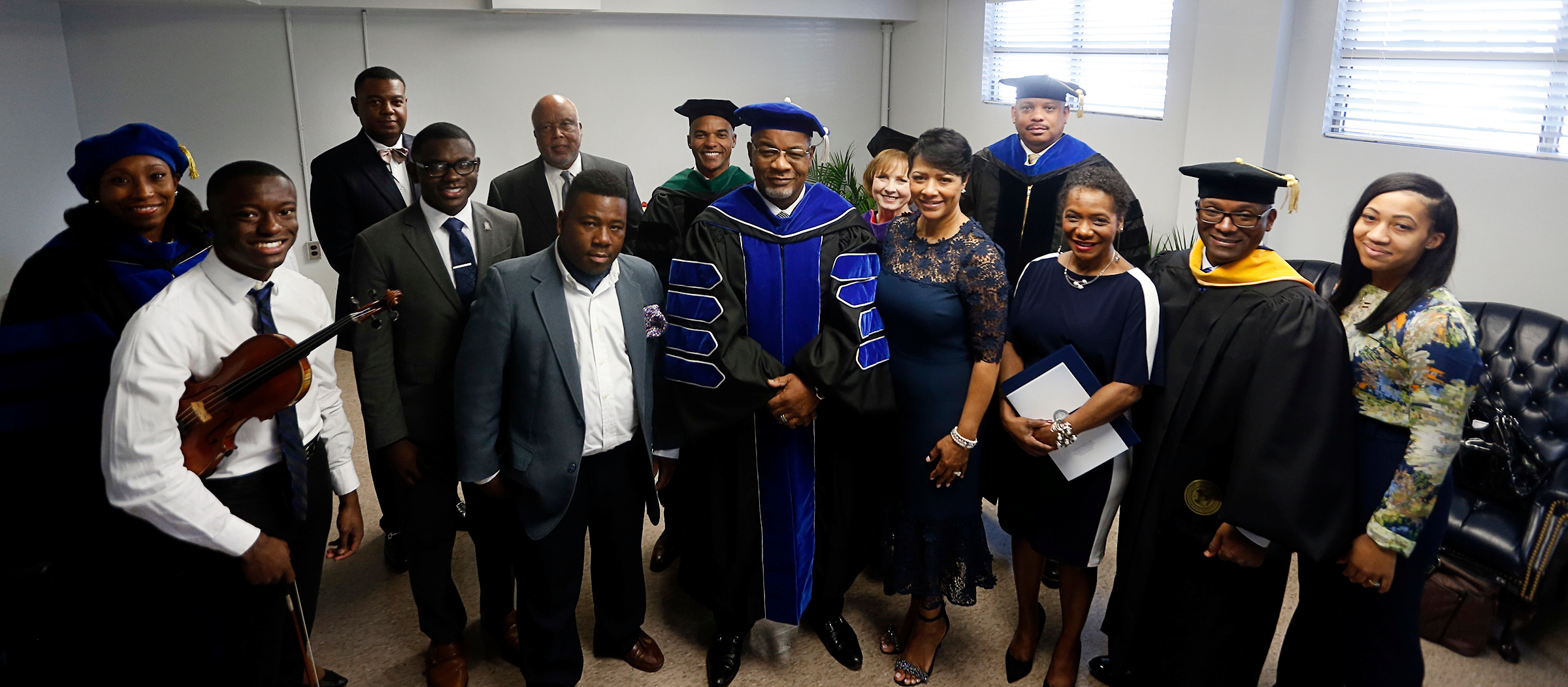 It takes a village: Participants in the inauguration ceremony for Dr. William B. Bynum Jr., 11th president of Jackson State University, pose with the president and Deborah Elayne Bynum, first lady. (Photo by Charles A. Smith/JSU)