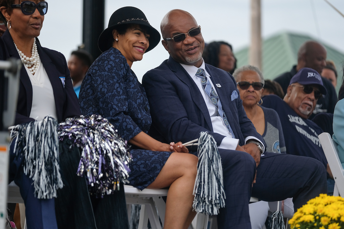 JSU President William B. Bynum Jr. and wife Deborah are amused by the slew of talent. (Photo by Charles A. Smith)