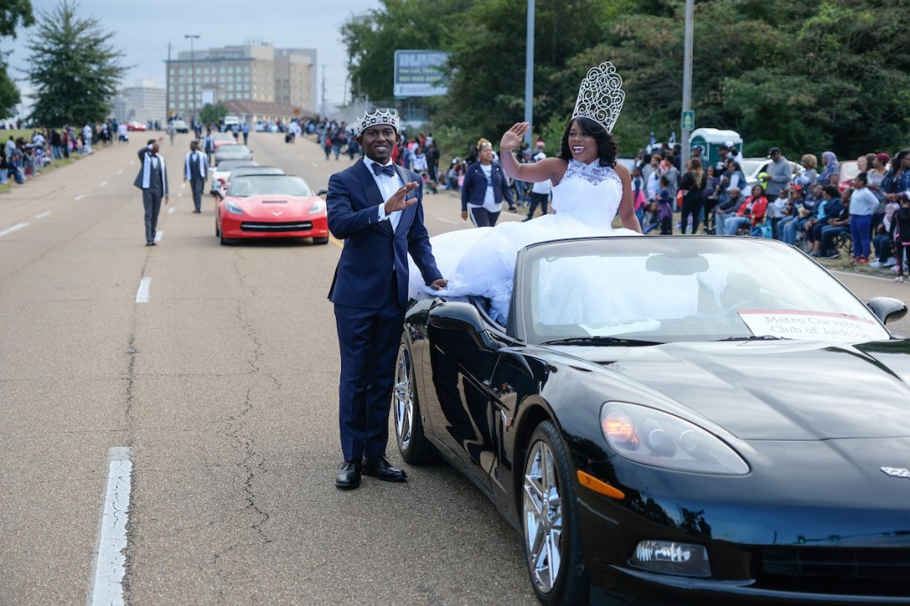Mister JSU Darrian B. Jackson and Miss JSU Gabrielle Baker grace the parade route. (Photo by Charles A. Smith)