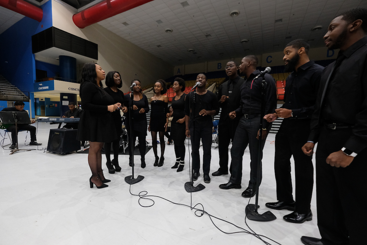 JSU's Vocal Jazz Ensemble, under the direction of Dr. Loretta Galbreath, performs for the audience. (Photo by Charles A. Smith)