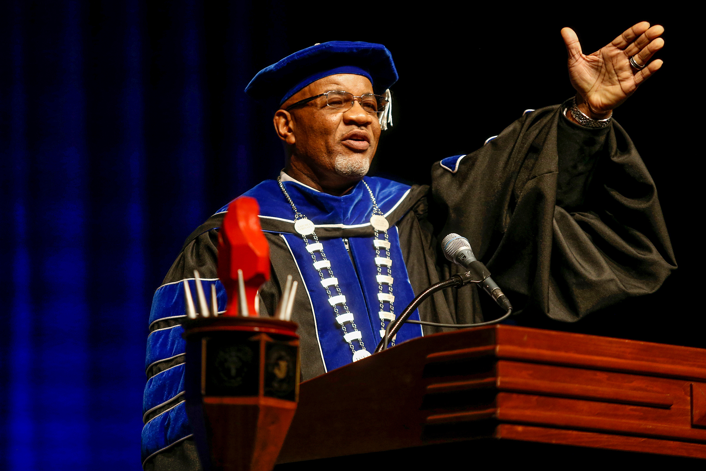 """At the end of the day, I'm so thankful to receive this medallion. Like the old saying goes: 'It doesn't mean a thing until you have the bling,'"" joked Dr. William B. Bynum Jr. after he was formally installed as the 11th president of Jackson State University during his investiture service at Rose E. McCoy Auditorium on Thursday, Oct. 11.  (Photo by Charles A. Smith/JSU)"