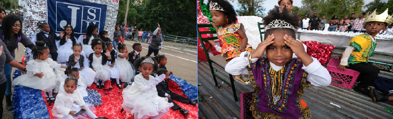 LEFT: Little princes and princesses rule the route. RIGHT: African royalty commands attention. (Photo by Charles A. Smith)