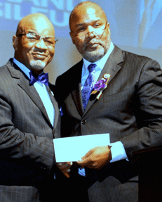 In August, JSU alum and president of Omega Psi Phi Fraternity, Inc. presented JSU president and fraternity member Dr. William B. Bynum, Jr. with a check for $10,000.