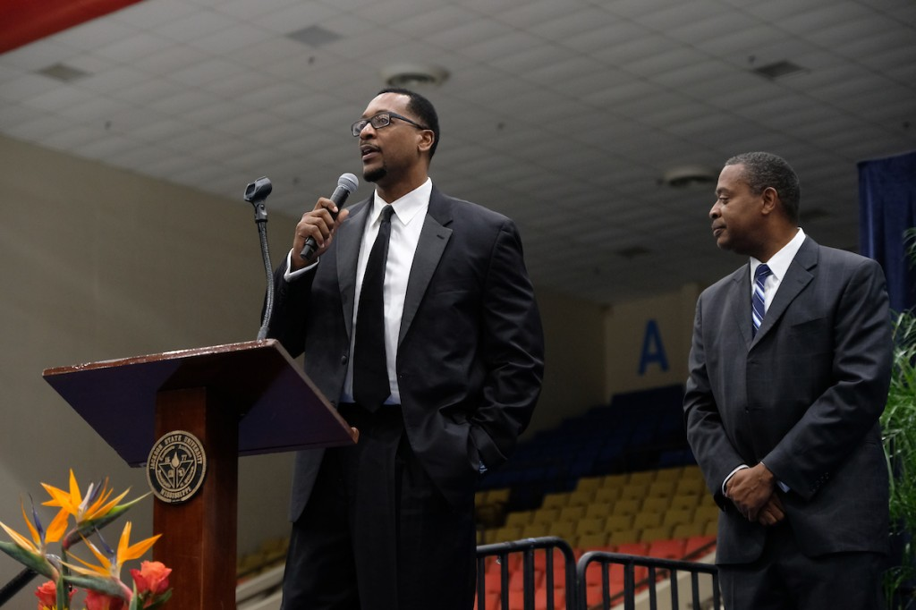 Eric Strothers described his experience of playing alongside Lindsey Hunter, a JSU Hall of Famer and former Detroit Pistons. Strothers' scoring average placed him in the JSU 1,000 Points Club. (Photo by Charles A. Smith)