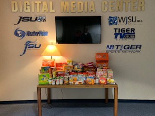 Students in the Department of Journalism and Media Studies hosted a drive, which lasted from Nov. 5-15, and collected a total of 401 items. On Nov. 16, the items were donated to Deborah Bynum's, first lady of JSU, Tiger Pantry, which is located in Campbell Suites North. (Photo special to JSU)