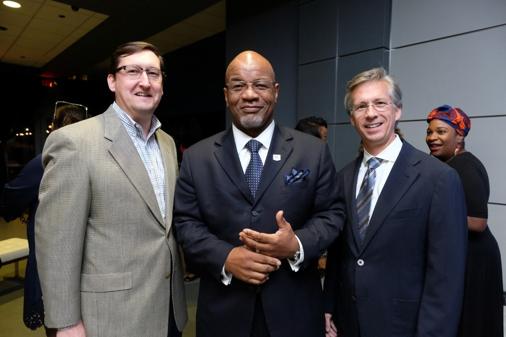 Dr. William B. Bynum Jr., poses with brothers John Flynt (far left) and Mayo Flynt, president of AT&T Mississippi, (far right). Mayo Flynt credits his brother John for introducing him to the music of Miles Davis. Both brothers expressed their pleasure that the exhibit is now a feature of the capitol city and JSU. (Photo by Charles A. Smith/JSU)