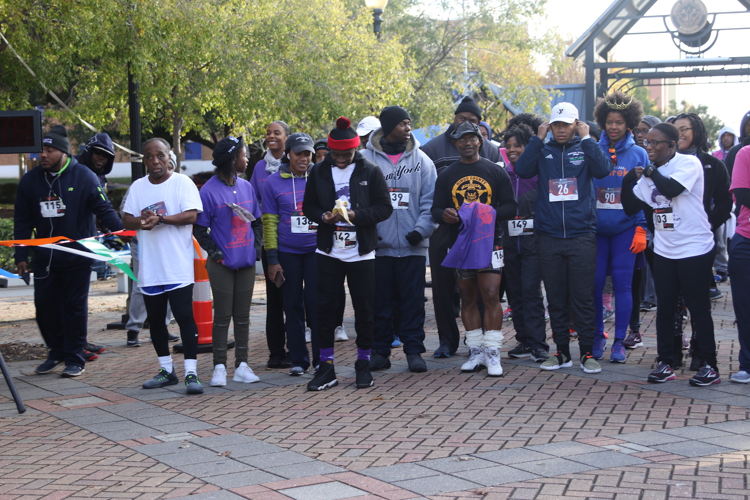 Participants line up at the starting line on the Gibbs-Green Memorial Plaza on Saturday for the 11th annual 5K Latasha Norman Run/Walk. (Photo by Aron Smith/JSU)