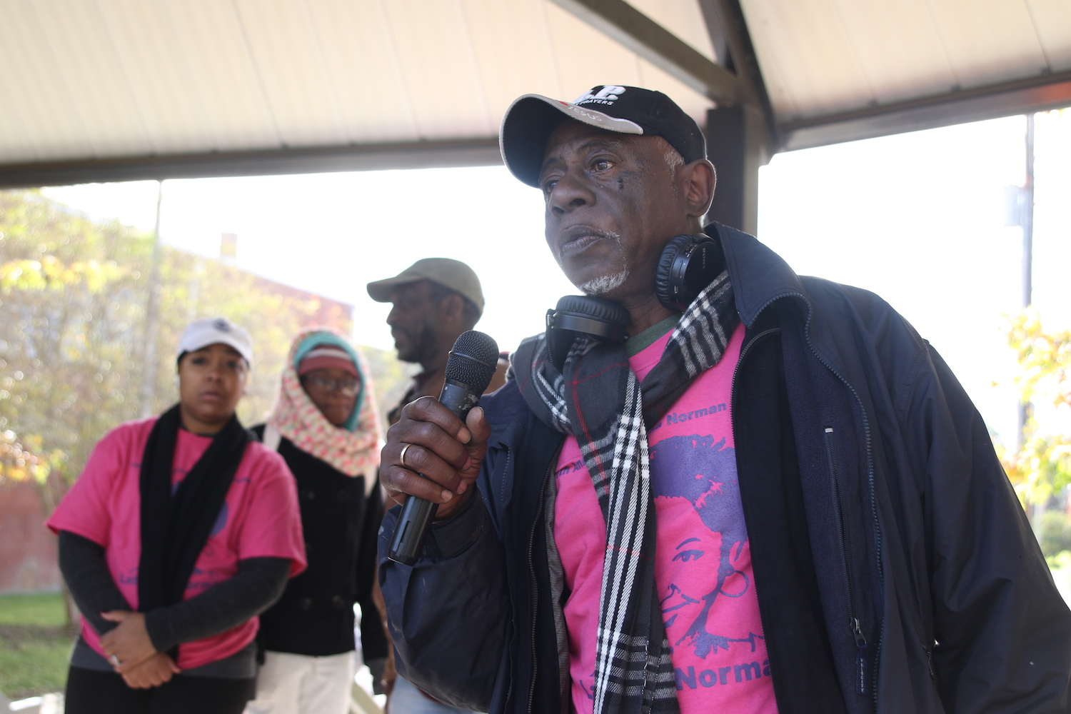 """Danny Bolden, father of the late Latasha Norman, expressed gratitude to JSU, the community and others who traveled great distances to participate in the event. He said, """"Awareness about domestic abuse is much needed on this campus and in the city. You can get out of this situation by seeking help.""""  (Photo by Aron Smith/JSU)"""