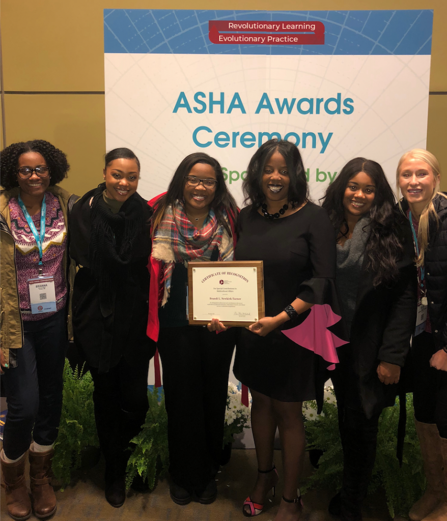 JSU's Communicative Disorders chair Dr. Brandi Newkirk-Turner is joined by her graduate students at the annual convention of the American Speech-Language Hearing Association in Boston, Massachusetts. The School of Public Health students are part of her grant, which funded their trip for professional development.