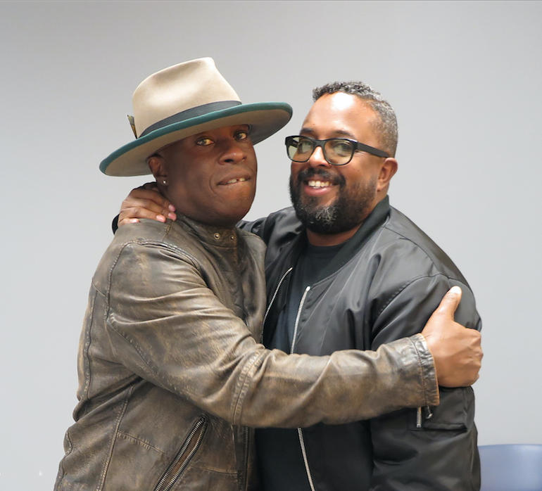 Members of Miles Davis' family, Vince Wilburn Jr., nephew, and Erin Davis, one of three sons, attended the public opening of the exhibit. They both shared some of their intimate experiences with the music legend. (Photo by Rachel James-Terry/JSU)