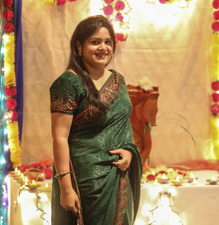 Dipannita Saha, a senior graphic design major shows off her sari.