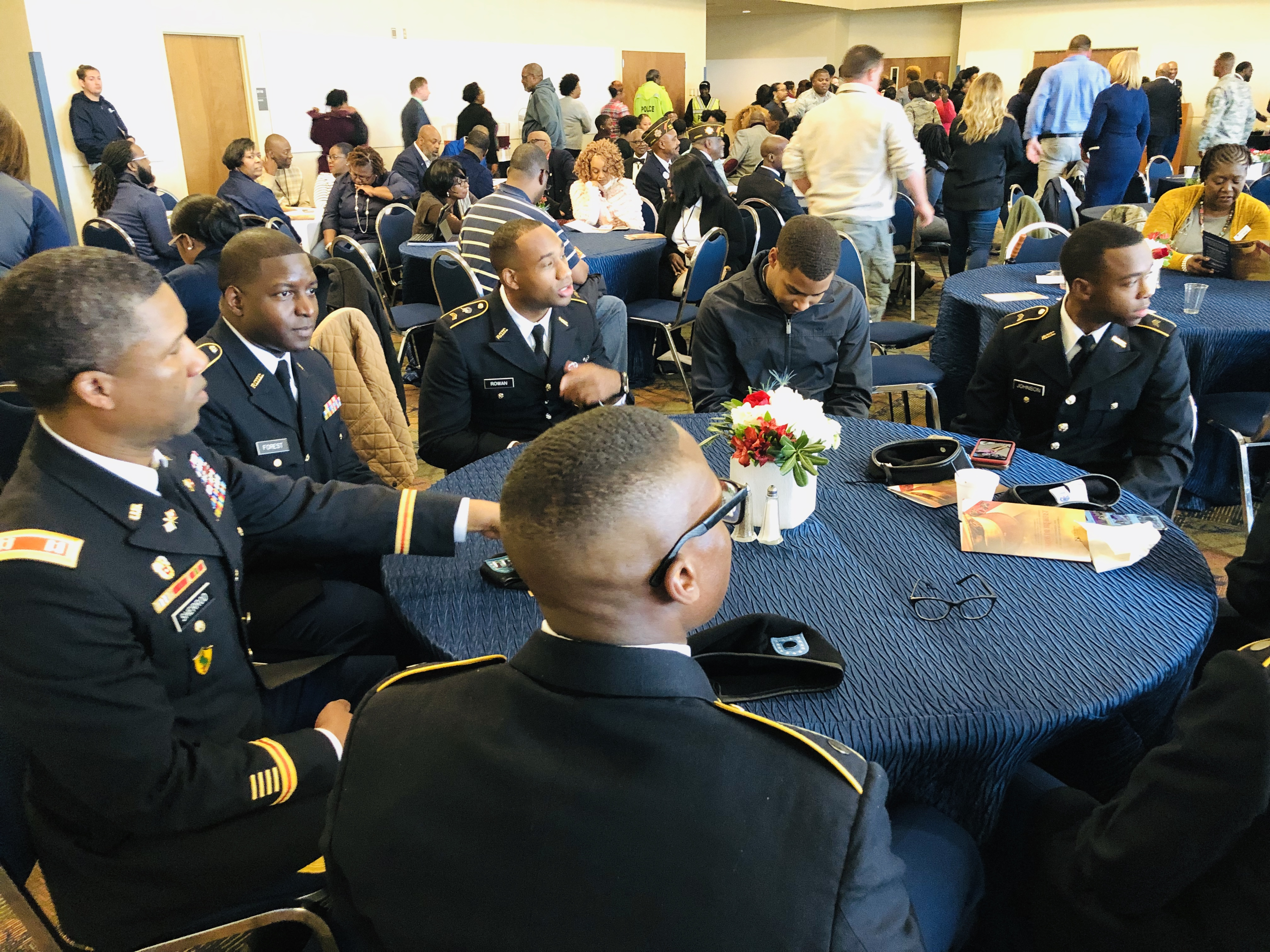 JSU cadets and other military personnel prepare for the start of the ceremony recognizing veterans and active duty service members. (Photo by L.A. Warren/JSU)