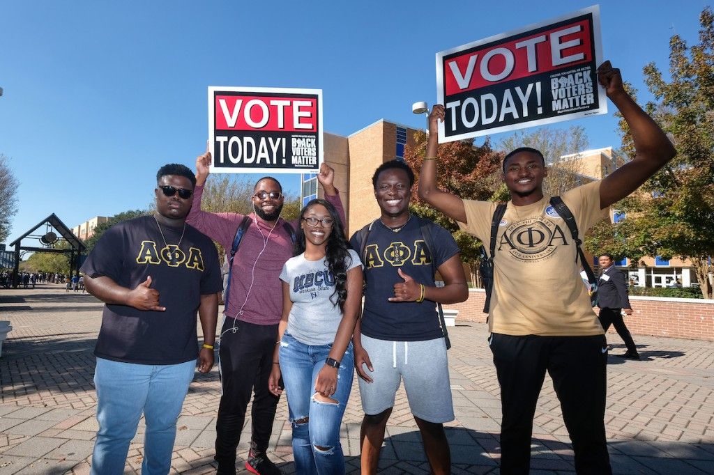 "The Delta Phi Chapter of Alpha Phi Alpha Fraternity Inc. continues its national organization's message that a ""voteless people is a hopeless people."" (Photo by Charles A. Smith/JSU)"
