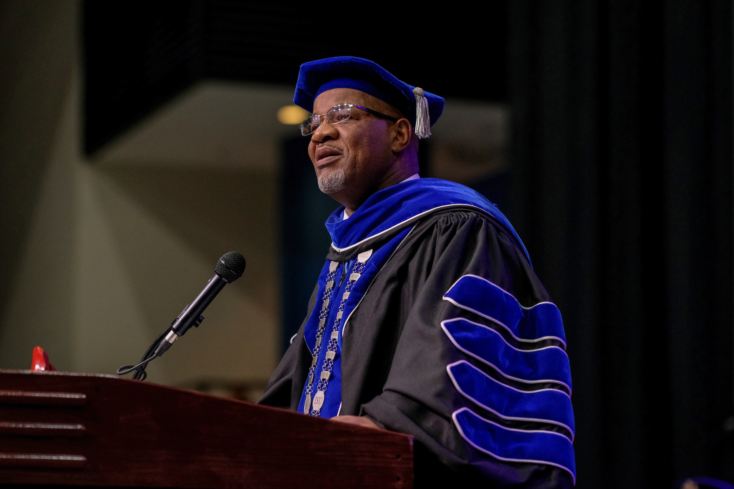 Dr. William B. Bynum Jr., JSU president, engaged the audience in his infamous 'God is good, all the time' call and response. (Charles A. Smith/University Communications)