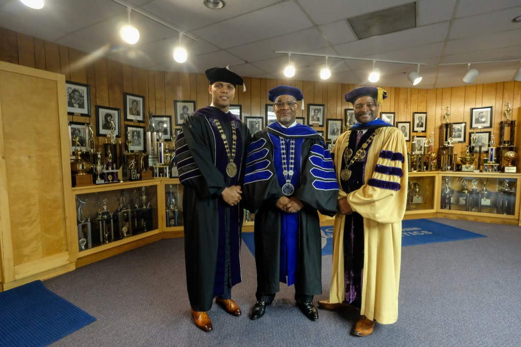 Dr. William B. Bynum, Jr., president of JSU poses with recent doctoral graduates Dr. Herman Felton, Jr., president of Wiley College and Dr. George French, president of Miles College. (Charles A. Smith/University Communications)