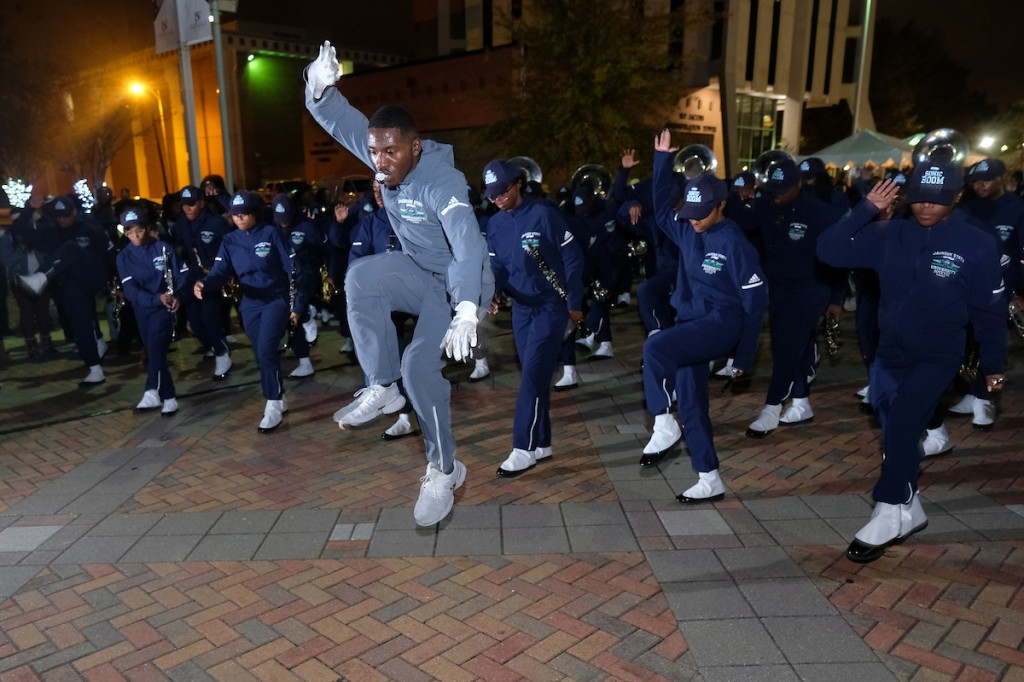 The Sonic Boom adds a special twist to the holiday event on the Gibbs-Green Memorial Plaza. (Photo by Charles A. Smith/JSU)
