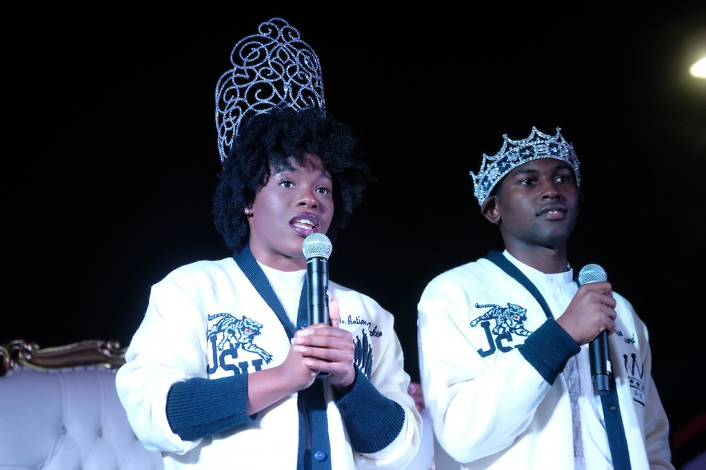 Mister JSU Darrian Johnson and Miss JSU Gabrielle Baker delivered messages of joy and peace to the crowd. (Photo by Charles A. Smith/JSU)