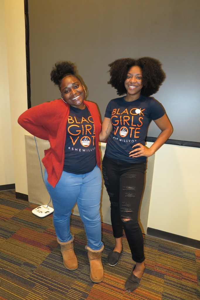 Keanne Williams, a childcare and family education major, attended the forum to support her friend Terri Wells, a senior political science major and native of Grand Rapids, Michigan. (Photo by Rachel James-Terry/JSU)