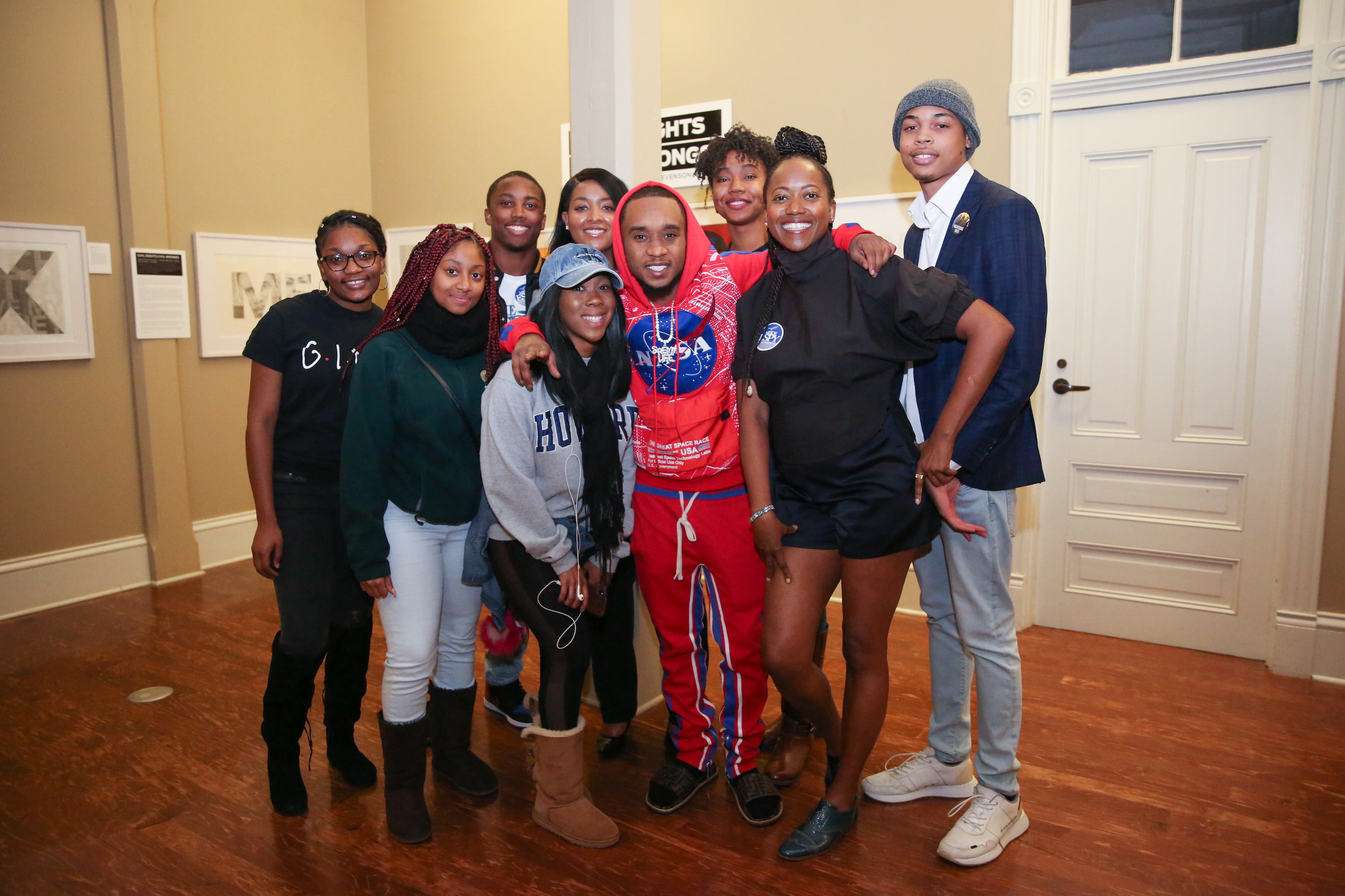 "Actress/political advocate Erika Alexander, far right, of ""The Cosby Show"" and ""Living Single"" fame appeared with student leaders and other participants in a get-out-the-vote campaign recently. They're joined by rapper Slim Jxmmi (born Aaquil Brown) of the hip hop duo group Rae Sremmurd of Tupelo. (Photo by Kentrice S. Rush/JSU)"