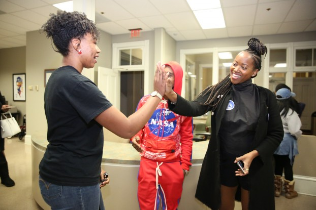 Alexander and Zenovia Lauren-Bradley, a special education major and Miss Black Mississippi USA 2019, discuss political advocacy in Mississippi. (Photo by Kentrice S. Rush/JSU)