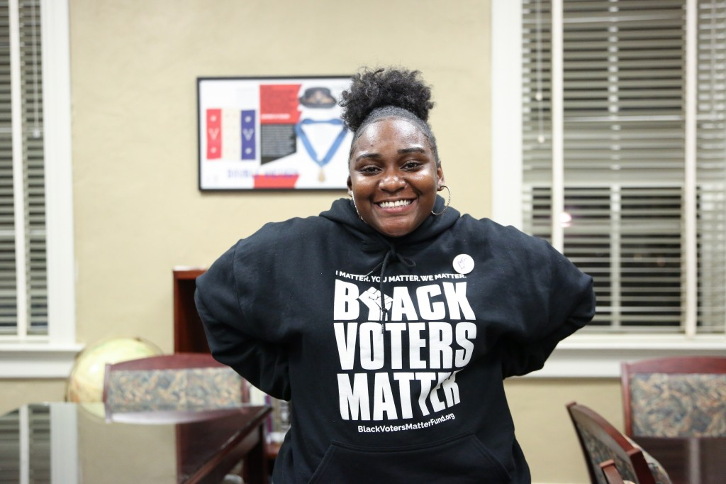 Keanne Williams, a senior childcare and family education major, is president of GIRL (Gathering Information Related to Ladies). The group addresses issues that young women face on college campuses and throughout the community. GIRL helped to bring actress/political advocate Alexander to JSU to encourage voting. (Photo by Kentrice S. Rush/JSU)