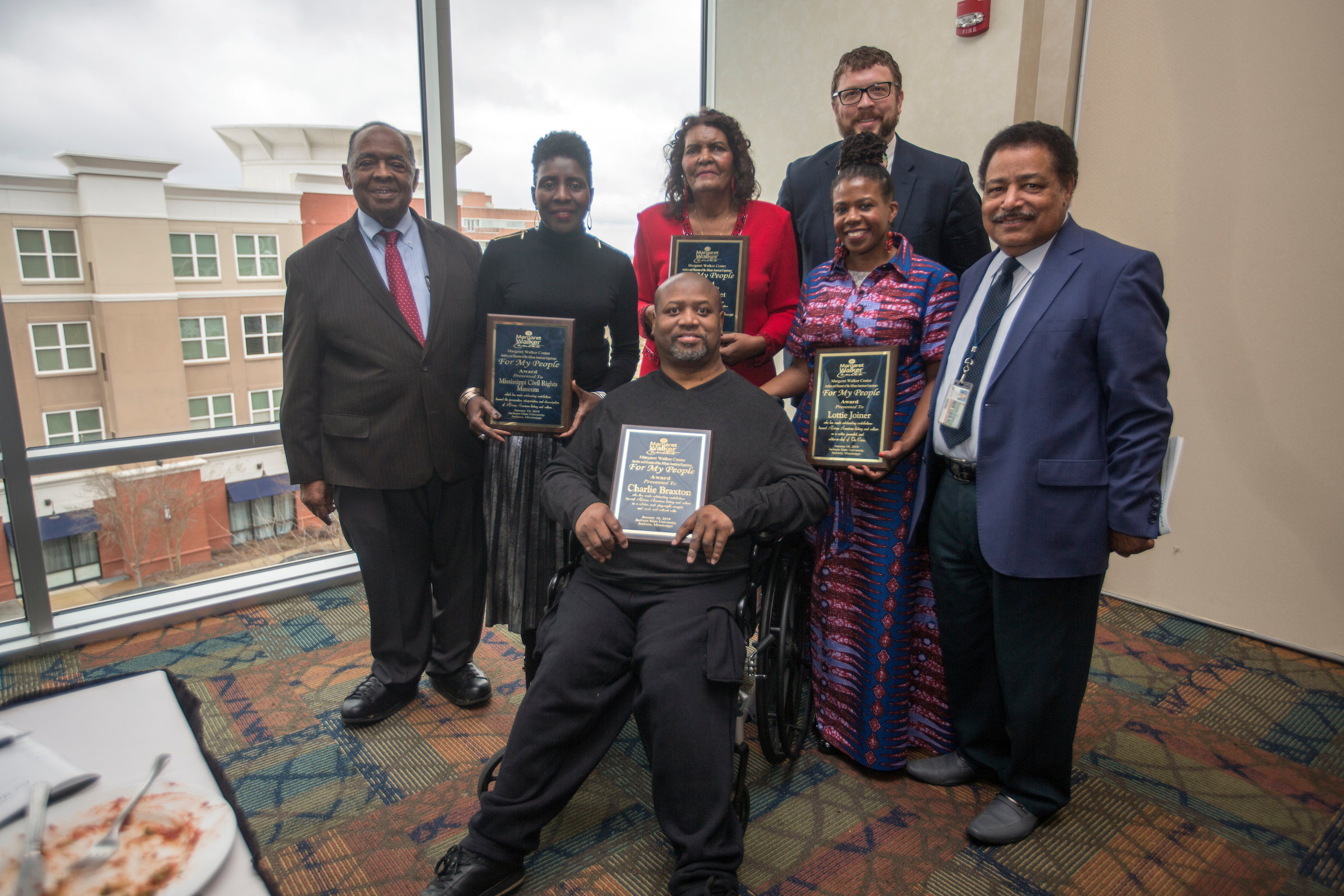 From left to right: Dr. Robert Smith, advisory board chair for the Margaret Walker Center; Pamela Junior, director of the Mississippi Civil Rights Museum; Grace Sweet co-author of Church Street: The Sugar Hill of Jackson, Mississippi; Dr. Robert Luckett, director of the Margaret Walker Center; Lottie Joiner, JSU alum and editor-in-chief of The Crisis Magazine; Dr. Mario Azevedo, dean of the College of Liberal Arts; and Charlie Braxton, writer and cultural critic. (Benjamin Bradley not pictured) (Photo by Charles A. Smith/JSU)