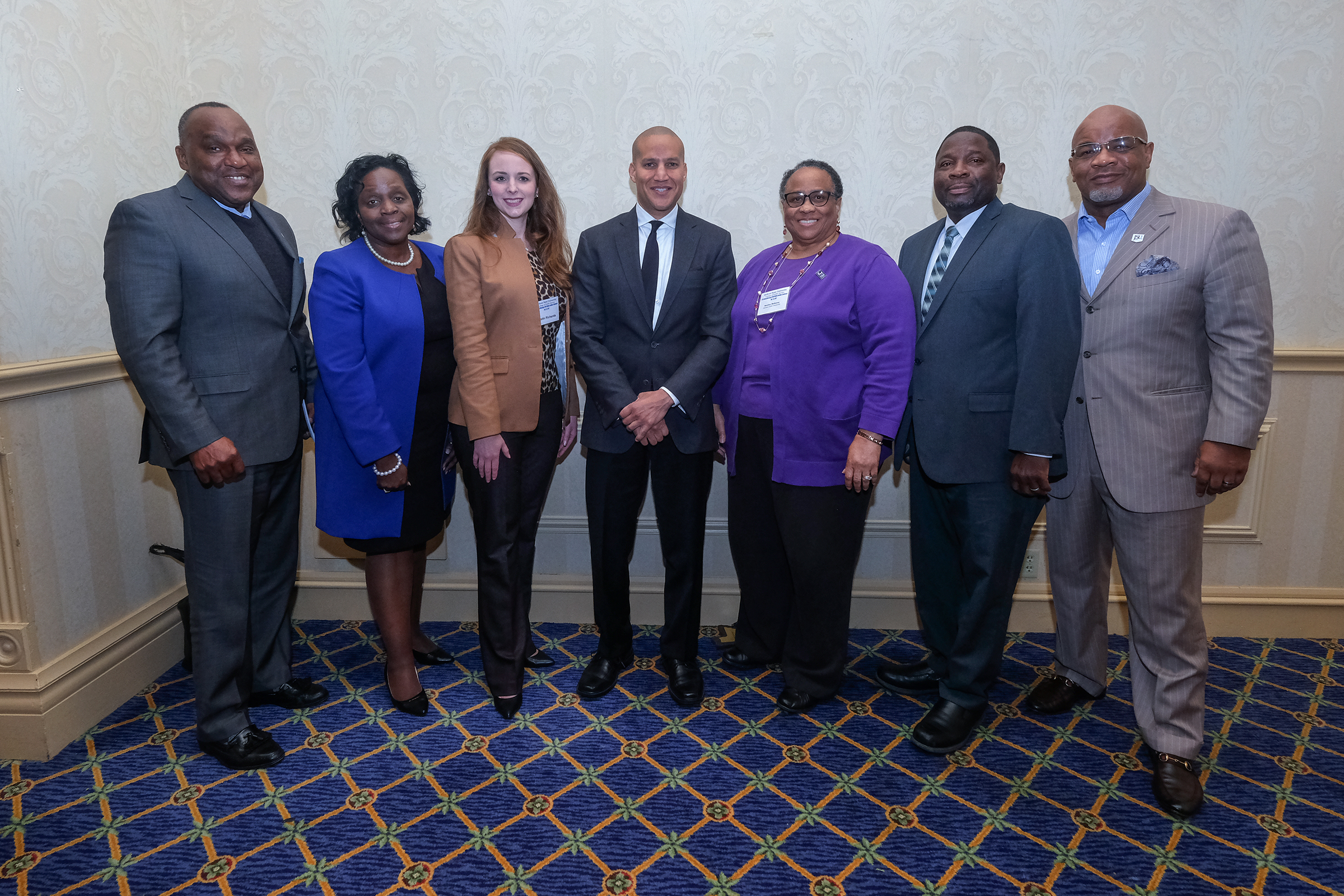 Pictured from left to right: Dr. Roosevelt Shelton, dean for College of Public Service; Dr. Lynda Brown-Wright, provost and vice president for Academic Affairs; Dr. Kristin Richards, associate professor for the School of Social Work; Dr. Timothy Quinn, keynote speaker for MCWIC; Professor Bernice McKenny, instructor for the School of Social Work; Honorable Johnny McDaniels, judge for Hinds County; and Dr. William B. Bynum, Jr., President of Jackson State University.