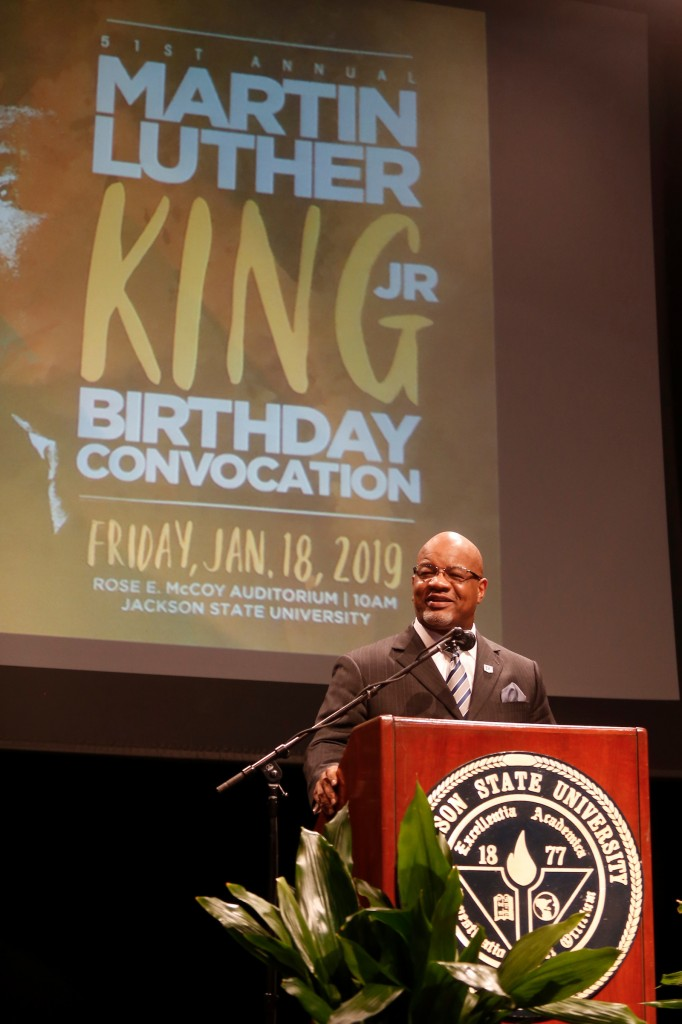 """We are proud of the fact that we have one of the longest-serving MLK celebrations in the country. We thank Margaret Walker and the Margaret Walker Center for continuing the tradition at this great institution,"" Dr. William B. Bynum Jr., 11th president of JSU, told the audience inside of the Rose E. McCoy Auditorium. (Photo by Charles A. Smith/JSU)"