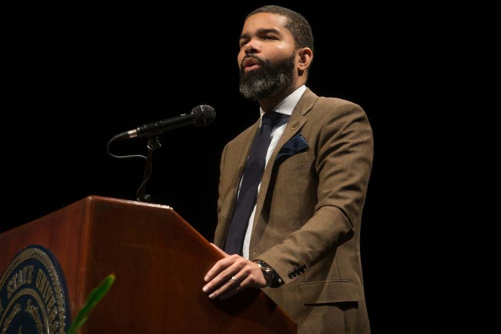 Chokwe Lumumba, mayor of the city of Jackson, offered greetings at the 51st Annual Martin Luther King Jr., Birthday Convocation at JSU. (Photo by Charles A. Smith/JSU)