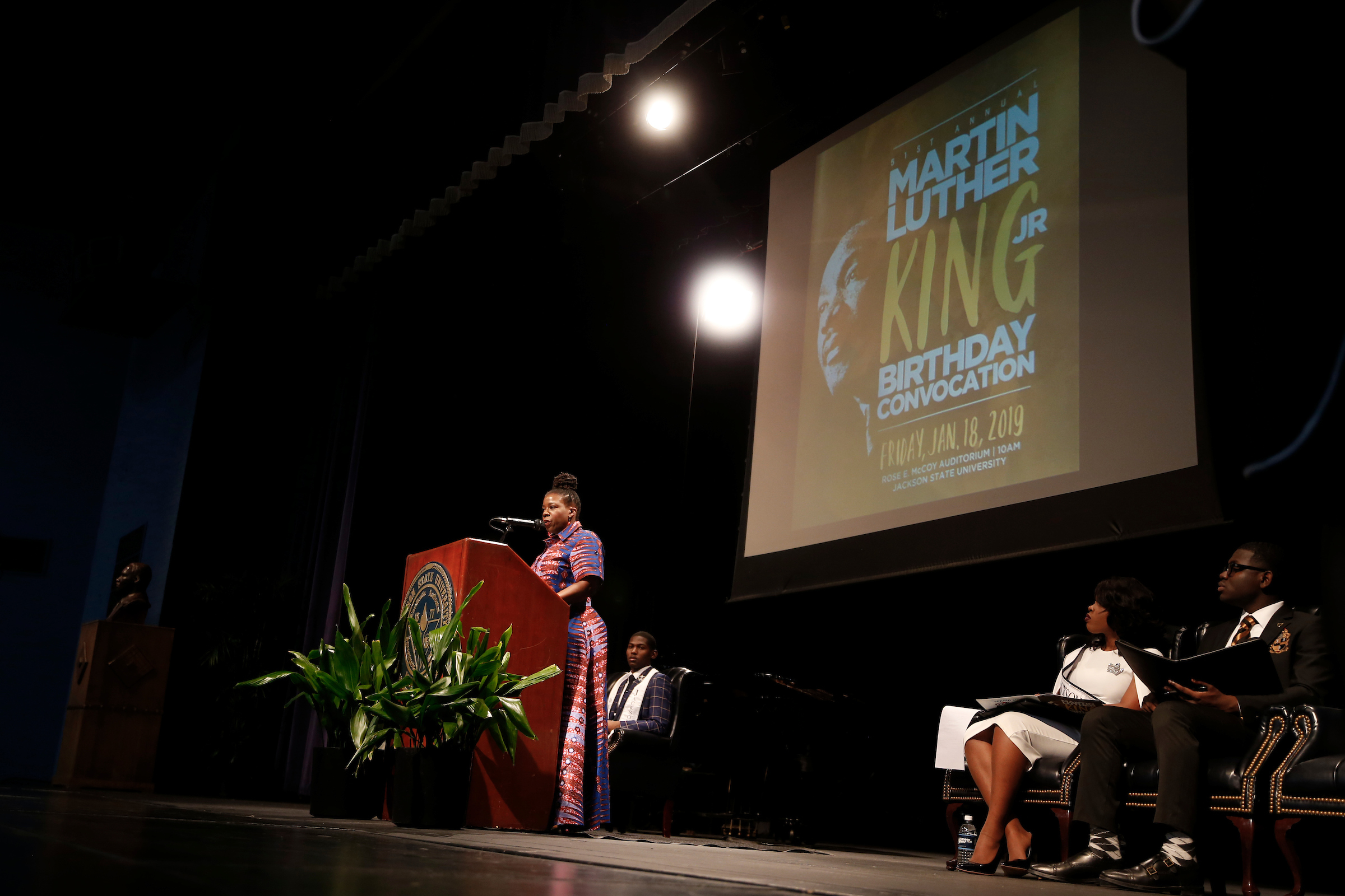 Lottie Joiner was the keynote speaker for the 51st Annual Martin Luther King Jr., Birthday Convocation hosted by the Margaret Walker Center. Joiner is the editor-in-chief of The Crisis magazine, the official publication of the NAACP, and a Washington, D.C.-based freelance writer. (Photo by Charles A. Smith/JSU)