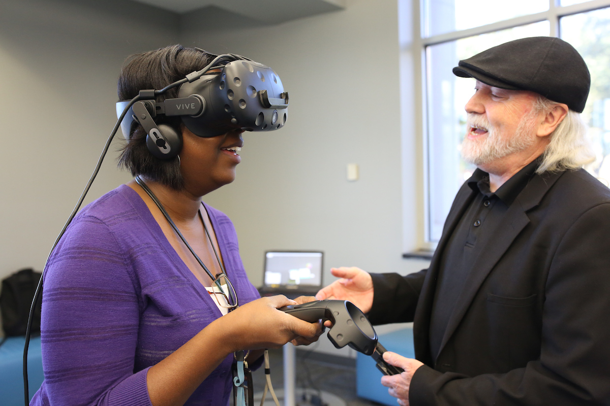 Vince Jordan heads the virtual reality company Lobaki. He prepares to take a JSU employee on an adventure. (Photo by Aron Smith/JSU)