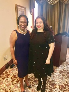 Veronica Cohen, vice president for the Division of Institutional Advancement poses with Heather Wilcox, director for  the Center for University-Based Development after the awards luncheon at the Natchez Grand Hotel.