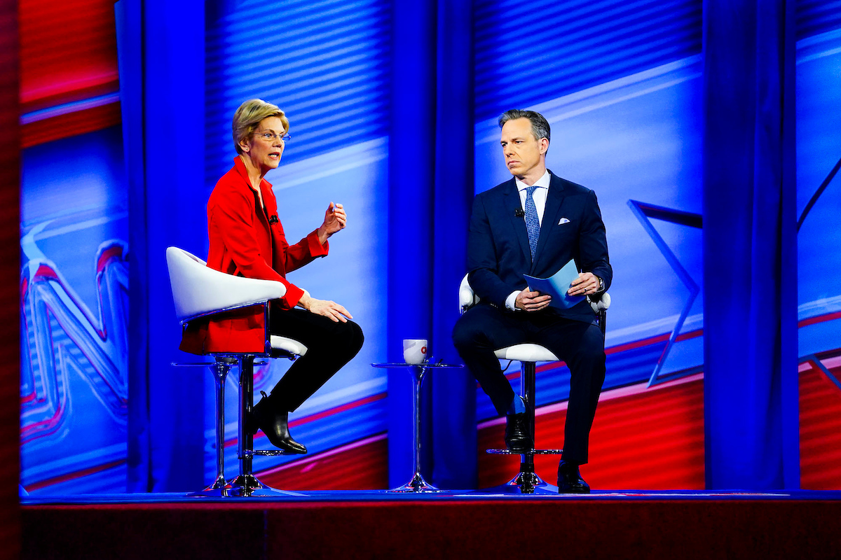 U.S. Sen. Elizabeth Warren addresses the audience during a live town hall forum inside JSU's Rose E. McCoy Auditorium with CNN anchor Jake Tapper. (Photo courtesy of CNN)