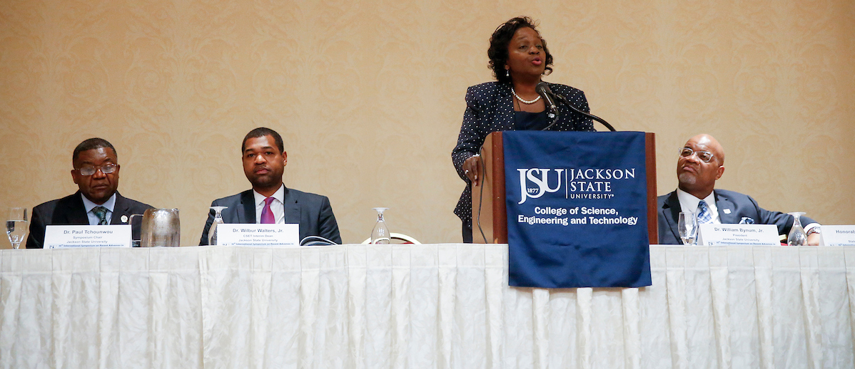 Dr. Lynda Brown-Wright is provost and vice president for Academic Affairs at JSU. She greets participants representing numerous nations who brought their research to Jackson. (Photo by Charles A. Smith/JSU)