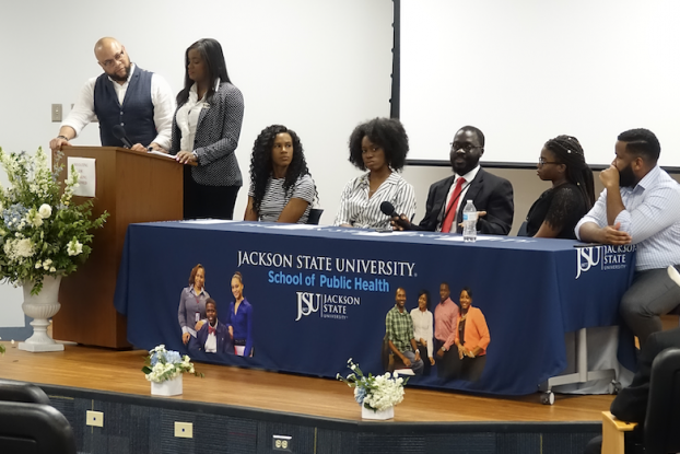 JSU alumni panelists discuss the state of public health in the U.S. The outbreak of measles, the opioid crisis and climate change are among pressing issues that concern them.