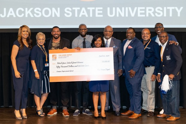 Jackson State representatives accepted the $50,000 check from The Home Depot for the campus improvement grant on Tuesday in Atlanta, GA.