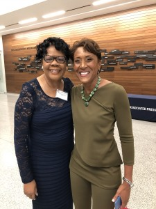 Dr. Elayne Hayes-Anthony, chair of the Department of Journalism and Media Studies, is pictured with Mississippi native Robin Roberts, anchor of ABC's Good Morning America, at the AP awards' dinner Saturday night. (Photo special to JSU)