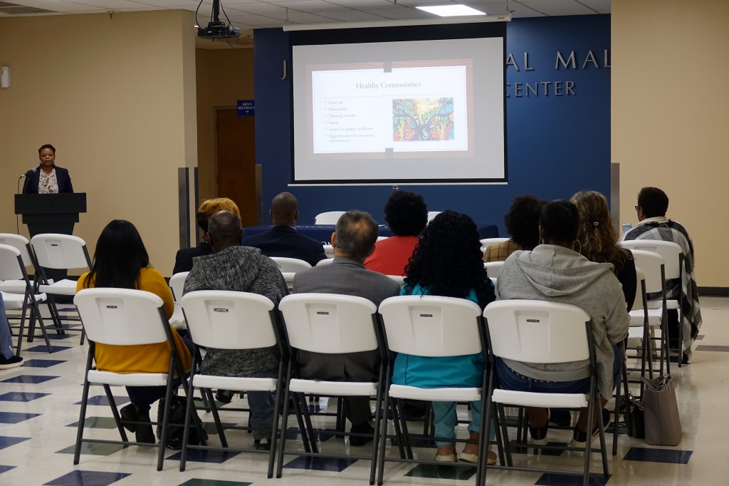 Dr. Nakietra Burse, president of the Delta Chapter of the Society for Public Health Education (SOPHE), outlined key points about the importance of her profession. Among these include sustaining healthy communities; preventing violence; and advocating for rural health.