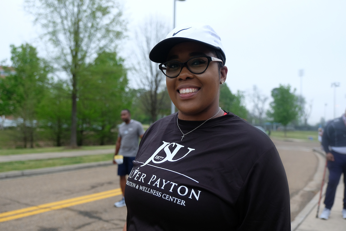 Alla Frank, assistant director of JSU's Auxiliary Enterprise, said the 5K walk/run urges communities to focus on their health. (Photo by Aron Smith/JSU)